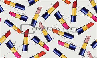 Beautiful seamless pattern of multi-colored lipsticks