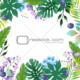 Abstract Background with Tropical Leaves and flowers