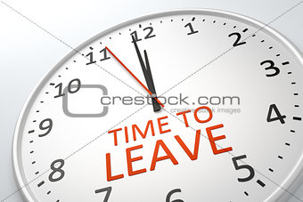 clock with text time to leave