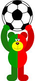 Teddy Bear Soccer Portugal Flag Holding Ball