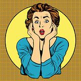 Surprised woman pop art retro style