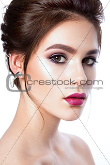 portrait of beautiful woman with bright make-up