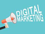 Digital Marketing Icon. Hand with Megaphone  Vector Illustration