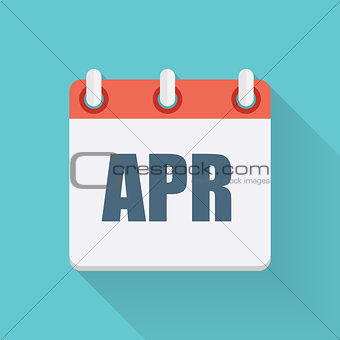 April Dates Flat Icon with Long Shadow. Vector Illustration