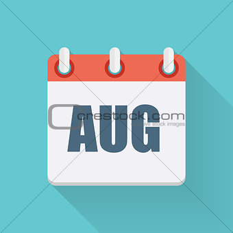 August Dates Flat Icon with Long Shadow. Vector Illustration