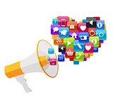 Social Media Marketing Icon. Hand with Megaphone  Vector Illustr