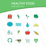 Healthy food icon set