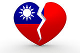 Broken white heart shape with Republic of China flag