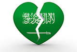 Broken white heart shape with Saudi Arabia flag