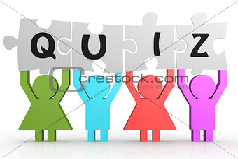 Four people hold puzzle with quiz word