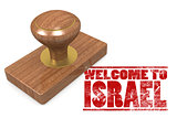 Red rubber stamp with welcome to Israel