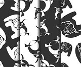 Set of animal monochrome patterns.