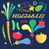 Bright background with colored vegetables