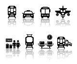 transport icons with reflection