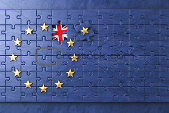 Brexit concept. Puzzle with EU European Union flag  without Grea