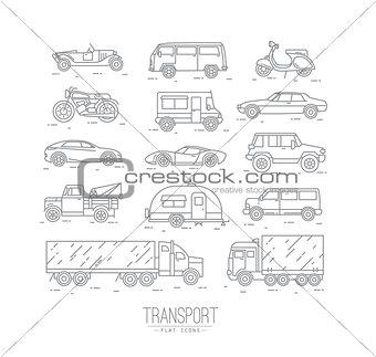 Flat transport icons