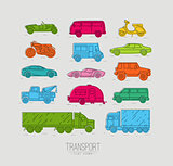 Flat transport icons color