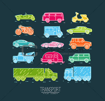 Flat transport icons blue
