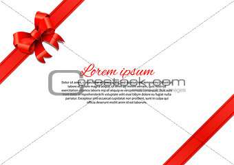 Postcard with red bow and text template