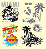 set of emblems and design elements for templates to summer holiday or tourism