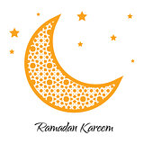 Ramadan Kareem moon with muslim ornament greeting card. Ramazan . Vector illustration.