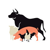 Farm animals icon, Beef, pork, lamb, chicken