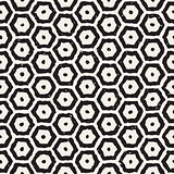 Vector Seamless Black And White Hand Drawn Hexagon Grid Pattern