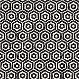 Vector Seamless Black And White Hand Drawn Honeycomb Grid Pattern