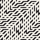 Vector Seamless Black and White Diagonal Techno Lines Irregular Pattern