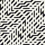 Vector Seamless Black and White Diagonal Techno Lines Irregular Pattern