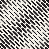 Vector Seamless Black and White Diagonal Rounded Lines Halftone Pattern