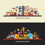Flat design Africa, Japan travel banners set