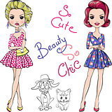 Vector Pop Art cute fashion girls with dog and cat