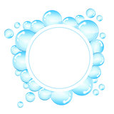 Bubbles frame for text. Round background with shiny soap bubbles and space for text