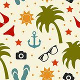 Beach seamless texture, summer background, season, beach, vector illustration