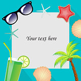Summertime traveling template with beach summer accessories. Summer template for the text frame. vector illustration.