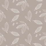 Cocoa beans outline seamless pattern. Chocolate taupe background.