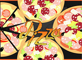 Pizza on a the chalk board background. vector illustration
