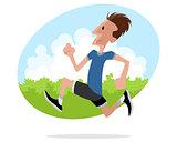 Young man runs