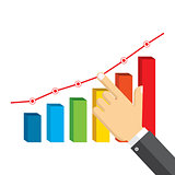 Businessman pointing at growth graph.