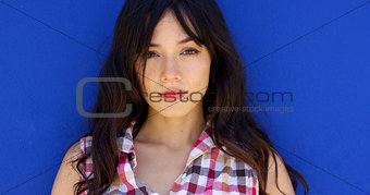 Close up of pretty brunette with long hair