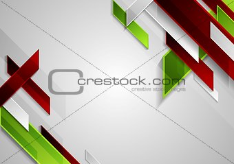 Bright tech geometric shapes on grey background