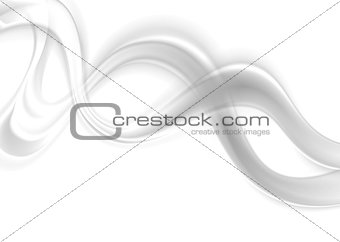 Abstract smooth blurred grey waves on white background