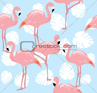 Flamingos Seamless Background