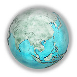 Southeast Asia on marble planet Earth