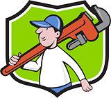 Plumber Holding Monkey Wrench Crest Cartoon