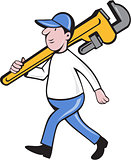 Plumber Holding Monkey Wrench Isolated Cartoon
