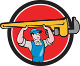 Plumber Lifting Monkey Wrench Circle Cartoon
