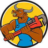 Minotaur Bull Plumber Wrench Circle Cartoon