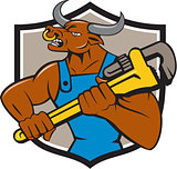 Minotaur Bull Plumber Wrench Crest Cartoon